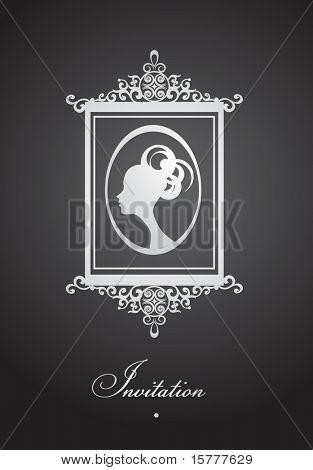 Design of vintage invitation with decorative frame,