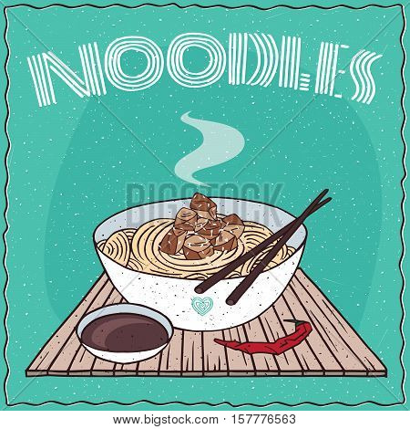 Asian Noodles Ramen Or Udon With Chicken
