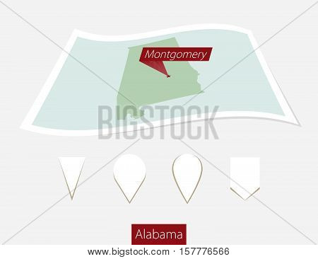 Curved Paper Map Of Alabama State With Capital Montgomery On Gray Background. Four Different Map Pin