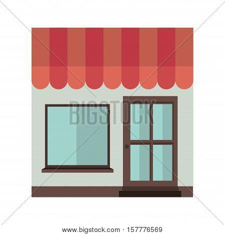 facade confortable house with sunshade vector illustration