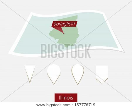 Curved Paper Map Of Illinois State With Capital Springfield On Gray Background. Four Different Map P