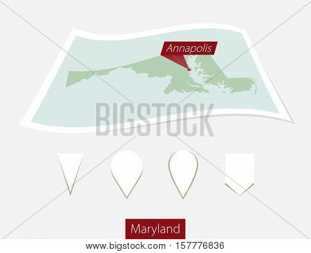 Curved Paper Map Of Maryland State With Capital Annapolis On Gray Background. Four Different Map Pin