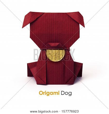 Brown small origami paper bussines chocolate dog with euro cent money on a white background
