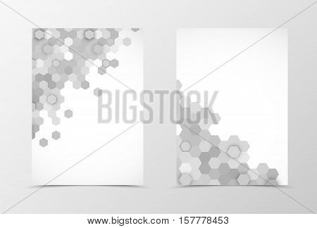 Front and back dynamic flyer template design. Abstract template with gray hexagons in geometric style. Vector illustration