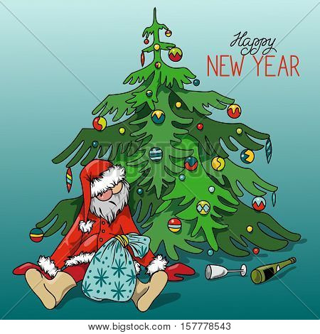Cartoon Drunk Santa Claus with gifts under the Christmas tree, hand-drawn vector illustration