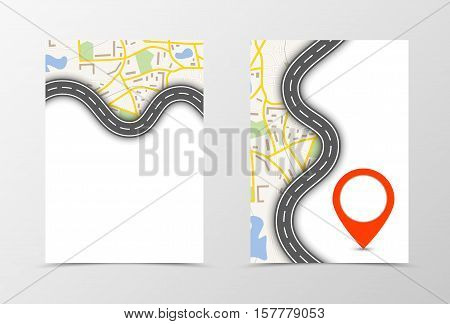 Front and back navigation flyer template design. Abstract template with map, road and red pointer in graphic style. Vector illustration