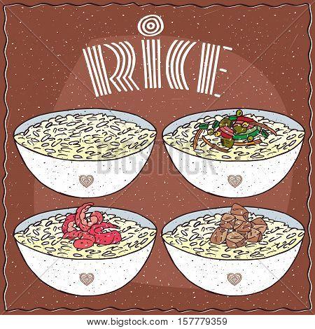Set Of Four Asian Rice Dal Bhat Or Nasi Kandar