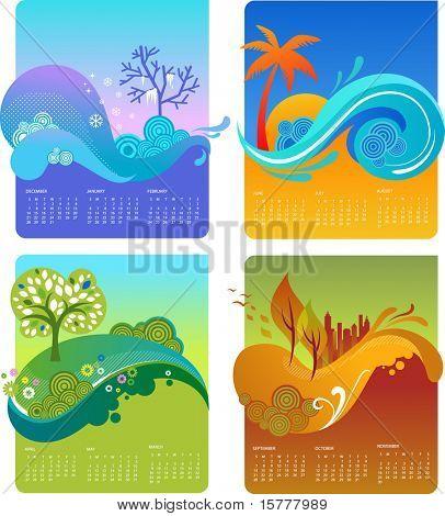 Template of design calendar - four season, vector file