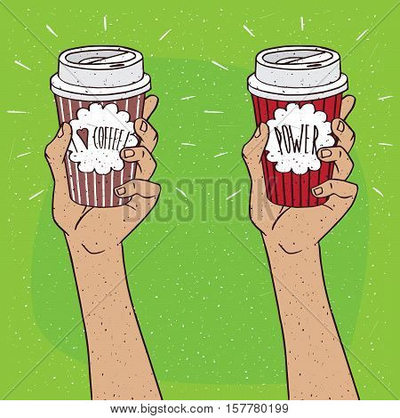 Set Of Two Hands Holding Cup Of Coffee