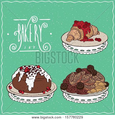 Set With Croissant Cinnamon Roll And Cookies