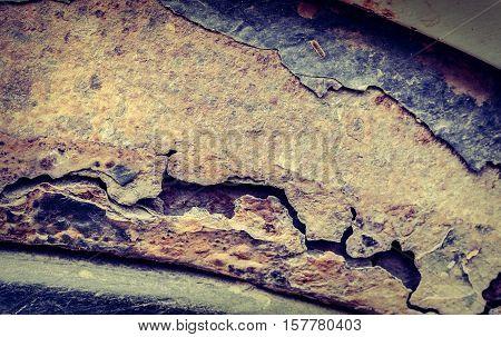 Rusty Threshold Of Car Used As Backgroun