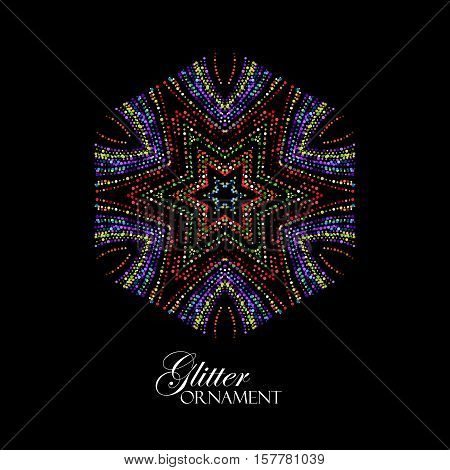 Luxury festive ornament with shiny multicolored glitters. Vector illustration. Vintage glittering ornament. Jewelery pattern. Oriental asian paillettes decoration poster