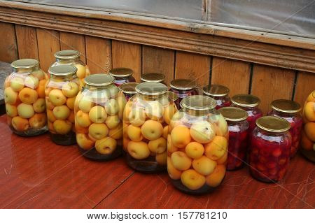 Canning / Domestic billet / Compote of apples and berries