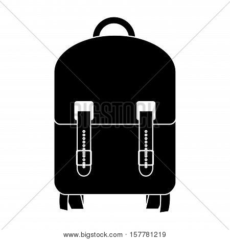 black silhouette suitcase with wheels and handle vector illustration