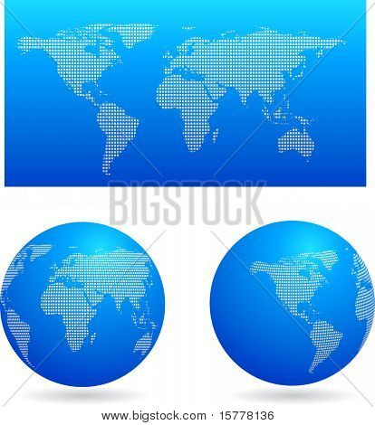 Blue globe set and map, vector
