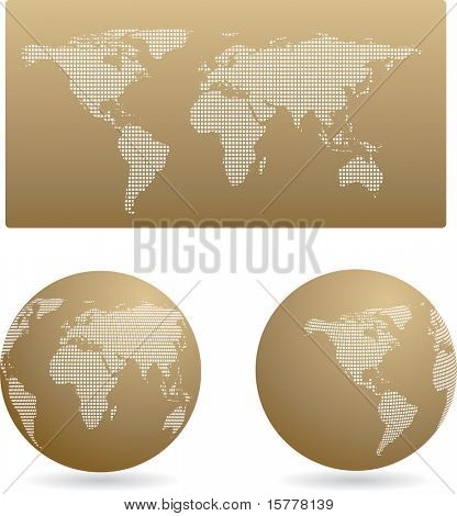 Gold globe set and map, vector