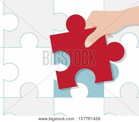 Hand Putting Red Pieces of Puzzle Cartoon Vector Illustration