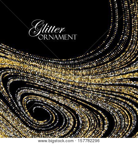 Luxury holiday background with shiny golden and silver glitters. Vector illustration of glittering curled lines pattern. Vintage jewelery ornament. Festive paillettes decoration poster