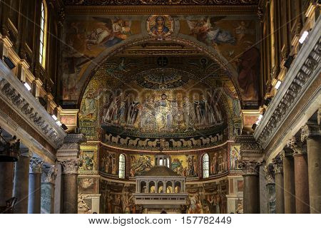 ROME, ITALY - JUNE 13, 2015: Interior of Basilica di Santa Maria in Trastevere in Rome. Italy