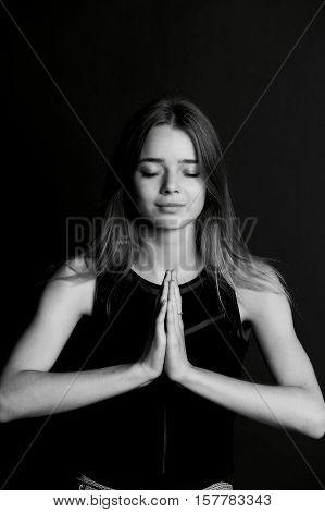 Beautiful long haired girl. Meditation, yoga relaxation