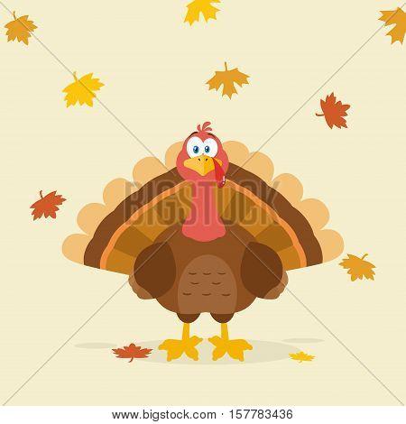 Thanksgiving Turkey Bird Cartoon Mascot Character. Illustration Flat Design Over Background With Autumn Leaves