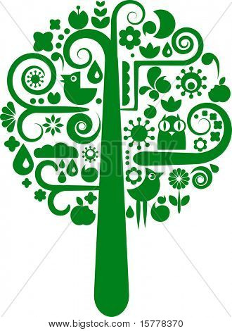 Green cutout tree with silhouettes of birds, butterflies and flowers