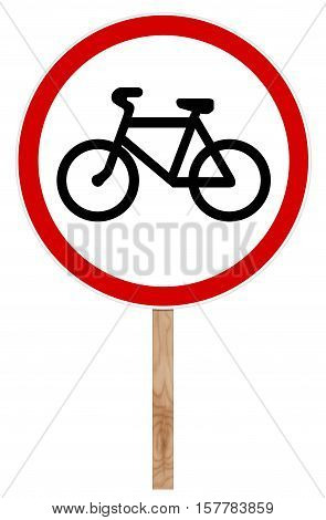 Prohibitory traffic sign isolated on white 3D illustration - Bicycle