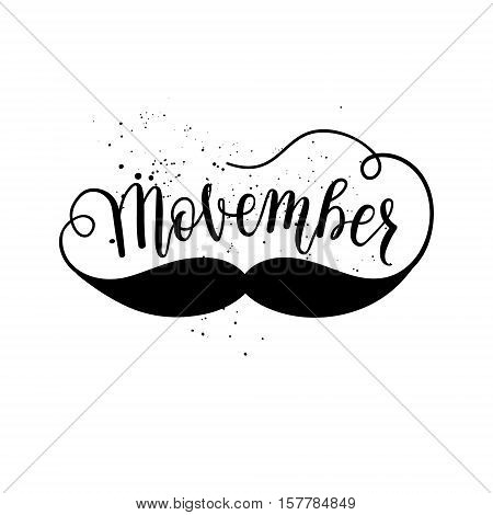 Movember cancer awareness icon banner poster card. Vector element with hand lettering text mustache on white background.