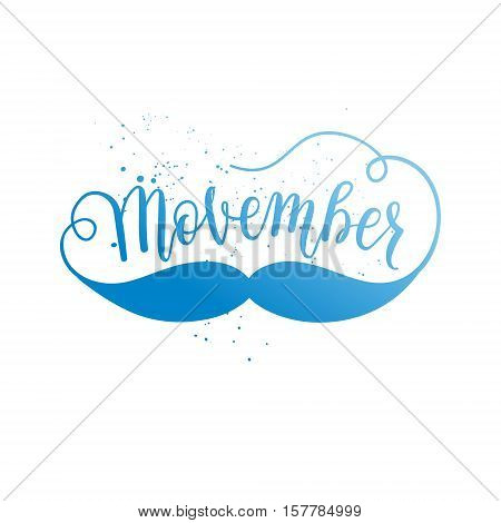 Movember cancer awareness element icon banner poster card. Vector colorful gradient with hand lettering text mustache on white background.