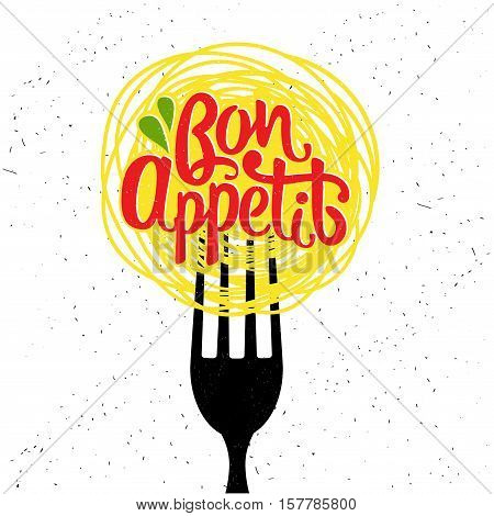 Hand drawn typography poster. Bon appetit. Vector calligraphy