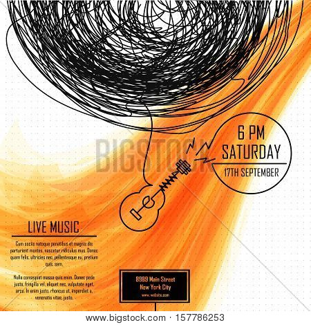 Music poster invitation to a musical party devoted to playing the guitar. Festival of music. Vector illustration