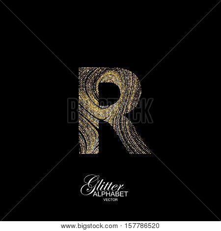 Letter R of golden and silver glitters. Typographic vector element for design. Part of marble texture imitation alphabet. Letter R with diffusion glitter lines swirly pattern. Vector illustration