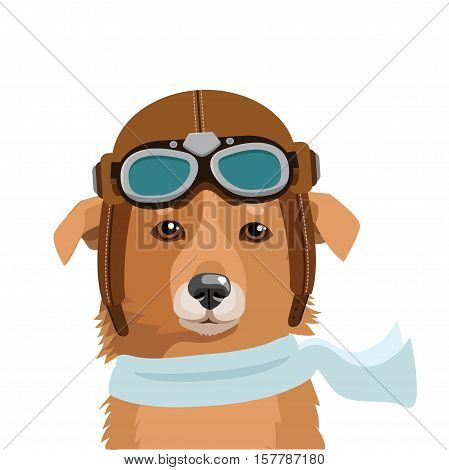 Cute Dog Pilot Isolated In White Background Vector Illustration. Shepherd Dog In Retro Pilot Hat. Dog Traveler. Pilot Helmet Kids. Fighter Pilot Helmet.