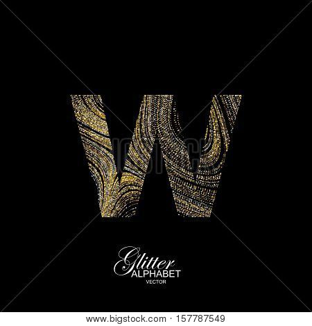 Letter W of golden and silver glitters. Typographic vector element for design. Part of marble texture imitation alphabet. Letter W with diffusion glitter lines swirly pattern. Vector illustration