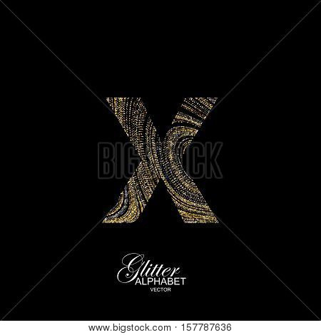 Letter X of golden and silver glitters. Typographic vector element for design. Part of marble texture imitation alphabet. Letter X with diffusion glitter lines swirly pattern. Vector illustration