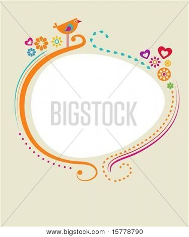 Greeting card template with floral frame and a bird