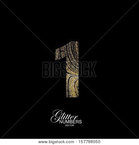 Number 1 of golden and silver glitters. Typographic vector element for design. Part of marble texture imitation alphabet. Digit one with diffusion glitter lines swirly pattern. Vector illustration