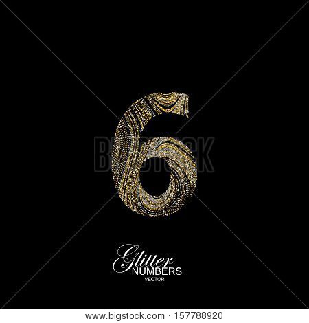 Number 6 of golden and silver glitters. Typographic vector element for design. Part of marble texture imitation alphabet. Digit six with diffusion glitter lines swirly pattern. Vector illustration