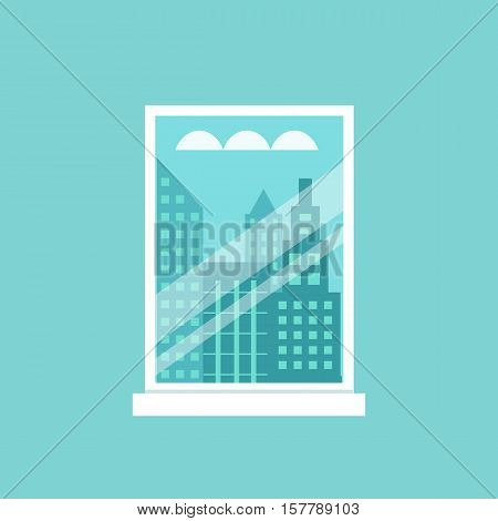 Room window flat illustration. Vector cityscape  window framed illustration. Concept of urban buildings view. Colorful cityscape window for your design. Flat cartoon urban buildings view isolated.