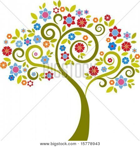 Colourful decorative tree with floral graphic elements