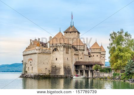 VEYTAUX,SWITZERLAND - SEPTEMBER 3,2016 - View at the Chillon castle. Chillon Castle is an island castle located on Lake Geneva south of Veytaux in the canton of Vaud.