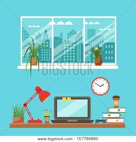 Vector colorful office desk closeup concept. Flat work interior design elements: table, laptop, lamp, books. Working concept of office desk closeup. Flat style office desk closeup illustration.