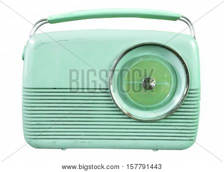 Retro radio isolate on white vintage technology - pastel color