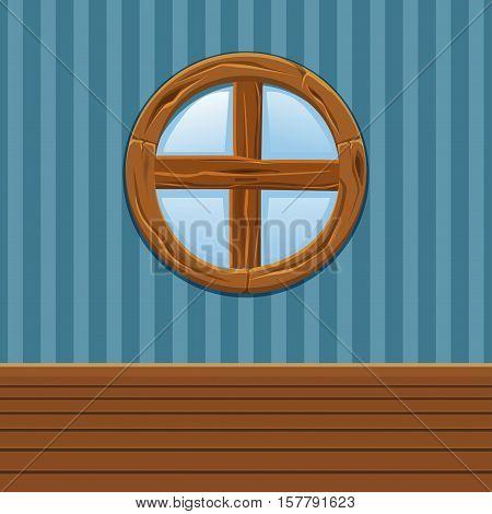 Cartoon Wooden round window, Home Interior in vector
