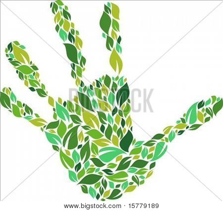 Green hand made from leaves pattern