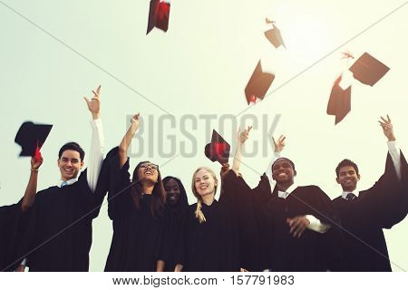 Successful Masters PHD Graduation College Concept