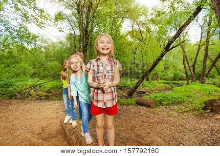 Portrait of smiling kids standing on a log one after another in summer forest