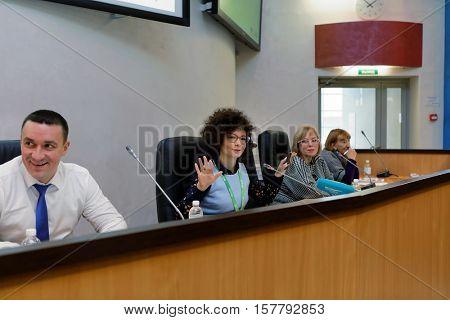 ST. PETERSBURG, RUSSIA - NOVEMBER 16, 2016: Vice-president HR, PR, corporate marketing of the biotechnology company BIOCAD Alexandra Glazkova (center) during press conference