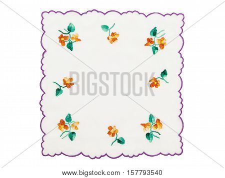 Embroidery with floral motif isolated on white background