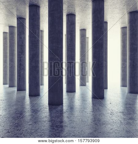 Design of large hall with columns and bright light on horizon. 3D illustration.